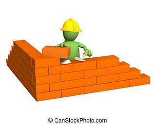 gmach, budowniczy, ściana, -, marionetka, cegła, 3d
