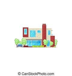 gmach, chata, hotel, mieszkaniowy, odizolowany, dom