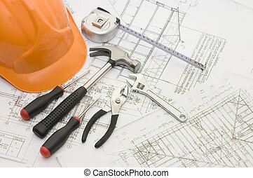 gmach, dom, narzędzia, projekt