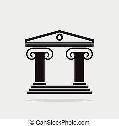 gmach, greckie kolumny, starożytny, ikona, wektor, architektura