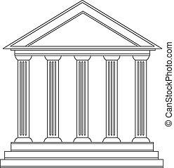 gmach, grek, historyczny, starożytny, kolumny