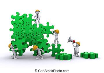 gmach, handlowy, concept., praca, puzzle., drużyna, buuilding