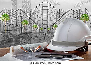 gmach, hełm, bezpieczeństwo, scena, pland, drewno, architekt, rząd, stół, zbudowanie, zachód słońca
