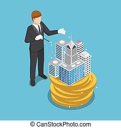gmach, isometric, magia, handlowy, pieniądze, korzystać, budować, biznesmen, pieniądze.