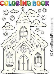 gmach, kolorowanie, zima, 1, książka, kościół