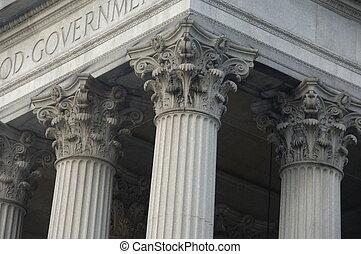 gmach, korynckie kolumny, rząd