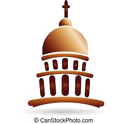 gmach, logo, kościół, kapitol, świątynia