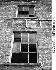 gmach, okna, przemysłowy, opuszczony, złamany