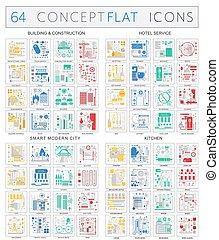 gmach, płaski, pojęcie, premia, miasto, ikony, kolor, mono, hotel, nowoczesny, zbudowanie, icons., wektor, służba, infographics, kuchnia, jakość, design.