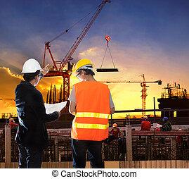 gmach, pracujące umieszczenie, worke, technika, zbudowanie, człowiek