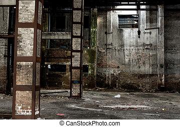 gmach, stary, opuszczony, stan, magazyn, wewnętrzny