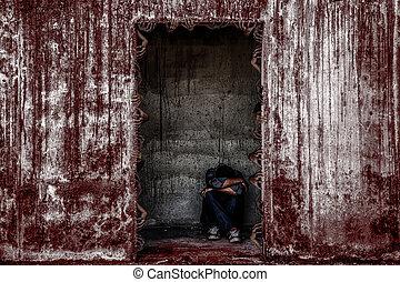 gmach, straszliwy, drzwi, opuszczony, posiedzenie, ściana, dużo, ludzie, jakiś, ręka, duch, krew, kropiąc