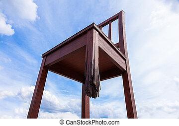 gmach, zjednoczony, genewa, symbol, pokój, -, naród, złamany, przód, szwajcaria, krzesło