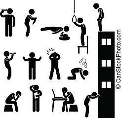 gnębić, samobójstwo, ludzie, smutny, zabić, człowiek