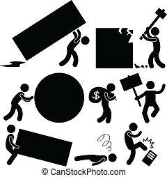 gniew, praca, handlowy, ciężar, ludzie