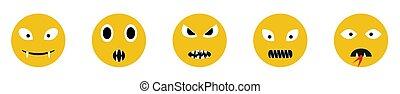 gniewny, ikony, uśmiech, twarz