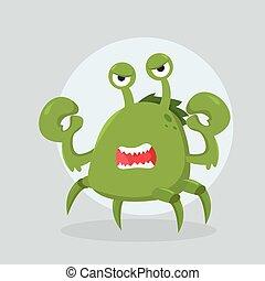 gniewny, potwór, krab