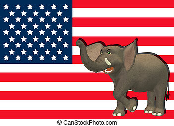 gniewny, republikanin, słoń