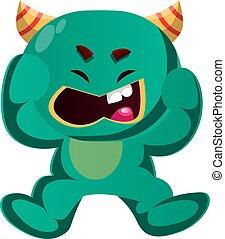 gniewny, wektor, zielony potwór, ilustracja