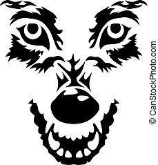 gniewny, wilk, twarz