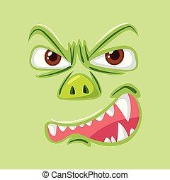 gniewny, zielony potwór, twarz