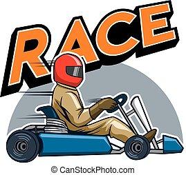 gokart, biegacz, zwycięski