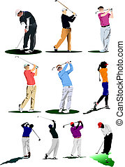golf, players., ilustracja, wektor
