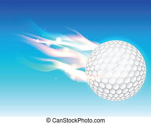 golf, prażący, niebo, piłka