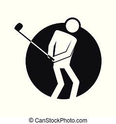 golf, szkic, figura, symbol, ilustracja, wektor, koło, sport, kloc
