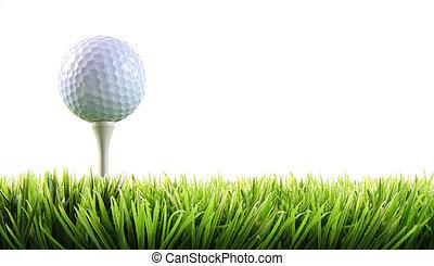 golfowa piłka, trawa, trójnik