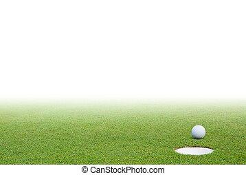 golfowa piłka, zielona trawa