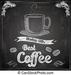 gorąca kawa, chalkboard