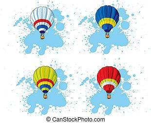 gorący, balloon, powietrze