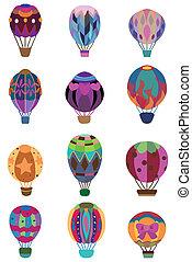 gorący, ikona, balloon, rysunek, powietrze