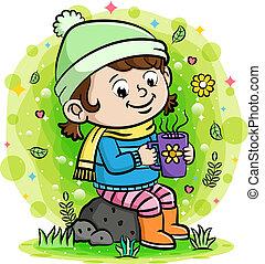 gorący, pijąca kawa, dziewczyna, ogród
