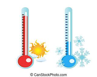 gorący, przeziębienie, temperatura, termometr