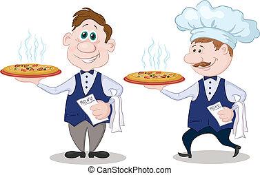 gorący, rozwieszenie, kelnerzy, pizza