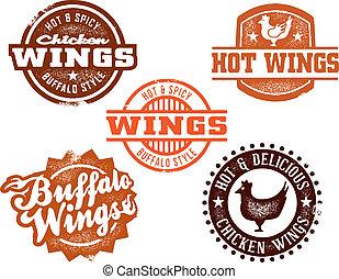 gorący, skrzydło, kurczak, grafika