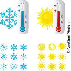 gorący, termometr, przeziębienie, temperatura
