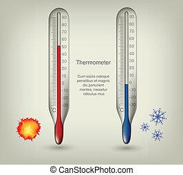 gorący, termometr, przeziębienie, temperatury, ikony