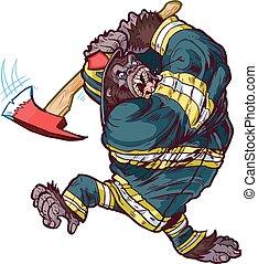 goryl, firefighter, wahadłowy, siekiera