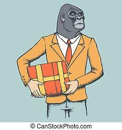 goryl, suit., ludzki, ilustracja, afrykanin