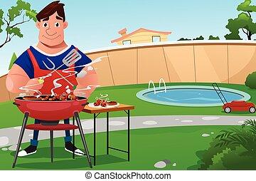 gotowanie, bbq, człowiek