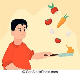 gotowanie, człowiek, warzywa