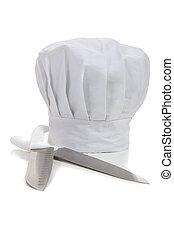gotowanie, kapelusz, noże, kuchmistrz
