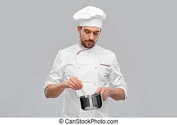 gotowanie, samiec, rondel, mistrz kucharski, jadło