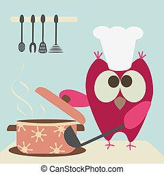 gotowanie, sprytny, sowa, wywrzaskiwać