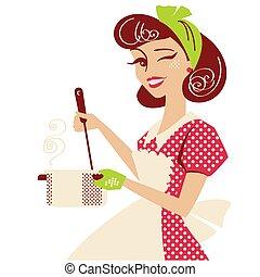 gotowanie, strój, odizolowany, do góry, room., czerwony, retro, wektor, kuchnia, rocznik wina, styl, zupa, szpilka, biały, gospodyni, jej, ilustracja