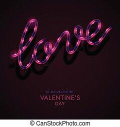 gotowy, banner., projektować, ciemny, neon, tło., słowo, twój, znak, miłość, day., powitanie karta, projektować, list miłosny