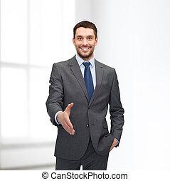 gotowy, biznesmen, uzgodnienie, otwarta ręka